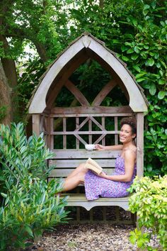 covered reading nook | An Outdoor Nook: A covered bench for reading (with or without a stack ...