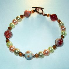 Orange and Pearl Fall Beaded Bracelet $15.00