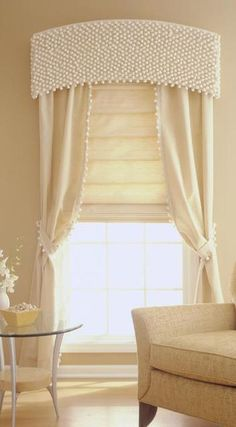 ball fringe 1 Window Cornices, Window Coverings, Window Treatments, Drapery Panels, Curtains With Blinds, Valances, Curtain Pelmet, Roman Blinds, Rideaux Design
