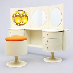 Fancy 70s vanity with tryptich mirror and matching stool - www.velvet-point.com