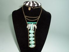 Turquoise Ladder Necklace with Crystal by extravagantdesigns, $40.00