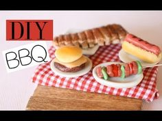 ▶ Backyard BBQ - Polymer Clay Food Tutorial - RIbs, Hot Dogs, Cheeseburger, Hamburger, Vegetable Kabob - YouTube