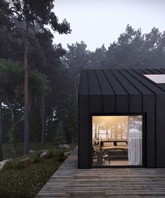 Woodland Cabin with black cladding and floor to ceiling picture window creating a contemporary cabin feel Modern Barn House, Modern Cottage, Minimalist Architecture, Modern Architecture, Scandinavian Architecture, Modern Buildings, Black House Exterior, Exterior Windows, Contemporary Cabin