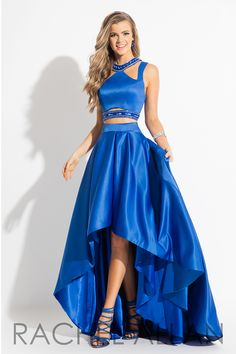 7668 - High low two piece matte satin dress with beaded embellishments and cutouts