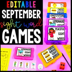 Editable Sight Word Games - Monthly Bundle by Kayse Morris - Teaching on Less Sight Word Games, Sight Words, Sight Word Activities, Teaching Main Idea, Language Arts Worksheets, Phonics Games, Classroom Fun, Student Learning, Teacher Resources
