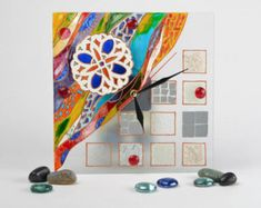 Hanging Clock,Stained glass wall clock colorful with bright abstract,Square Wall Clock,Modern Wall Clock,Custom Wall Clock,painting on glass Wall Clock Painting, Wall Clock Glass, Handmade Wall Clocks, Hanging Clock, Custom Wall, Modern Wall, Stained Glass, Colorful, Bright