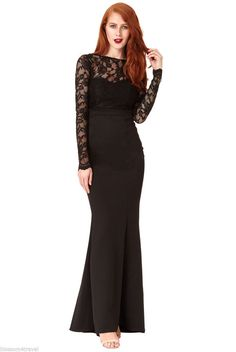 14ee5d6bc2be Goddiva Long Black Lace Open Back Bow Maxi Evening Party Dress Prom  Bridesmaid Lace  · Maxi ŠatyPlesové Šaty