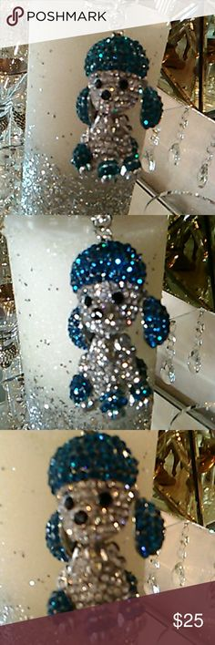 Key Chain Puddle Key Chain With Blue and White Rhinestones. Puddle is 2inches Tall. With Chain 4inches Accessories
