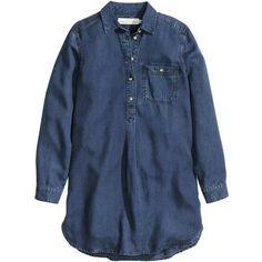 H&M Lyocell denim tunic (€34) ❤ liked on Polyvore featuring tops, tunics, dark denim blue, denim top, h&m, denim tunic, long sleeve tops and blue long sleeve top