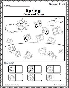 Numbers worksheet for preschool and early kindergarten math. Count the pictures of school supplies and write the number inside the box. Numbers Kindergarten, Kindergarten Math Worksheets, Preschool Curriculum, Preschool Activities, Spring Activities, Learning Activities, Rhyming Worksheet, Printable Worksheets, Printables