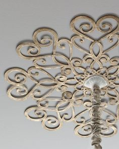 Scrolled Ceiling Medallion at Horchow. Made of tole metal. center hole for chandelier chain; eight screw holes for mounting to ceiling. Home Furnishings, Ceiling Lights, Ceiling Decor, Ceiling, Ceiling Design, Diy Ceiling, Traditional Ceiling Lights, Medallion, Ceiling Medallions