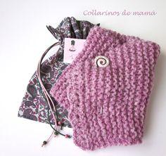 Collarinos de mamá. Cuello de lana en color rosa.