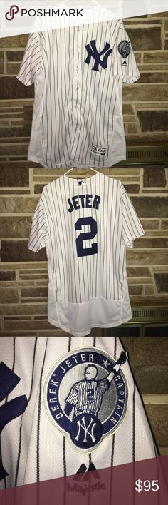 New York Yankees Derek Jeter Retirement Patch Men's New York Yankees Derek Jeter Majestic White/Navy Home #2 Retirement Patch Official Cool Base Jersey. Ships same day, if not the next! :) Majestic Shirts Tees - Short Sleeve