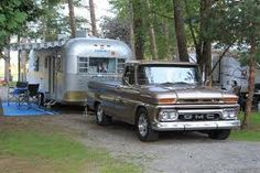 Anyone pull a vintage camper with their truck? - Page 2 - The 1947 - Present Chevrolet & GMC Truck Message Board Network Airstream Travel Trailers, Vintage Travel Trailers, Camper Trailers, Vintage Rv, Vintage Trucks, Vintage Campers, Vintage Style, Classic Trailers, Classic Trucks