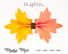 Fall Leaf Pinch Bow SVG Halloween Leaf Template SVG Autumn   Etsy Bow Template, Leaf Template, Templates, Felt Bows, Ribbon Bows, Silhouette Cameo, Halloween Bows, We All Make Mistakes, Cricut
