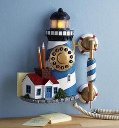 Lighthouse Decor Corded Wall Phone