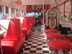 1950's vintage bus diner interior. Vintage diners are so fun, I miss the ones back in Kansas City