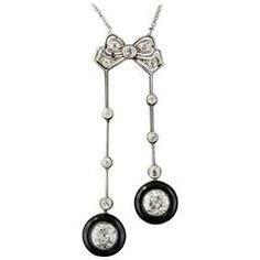 Late Edwardian Early Art Deco Black Onyx Diamond Negligee Necklace