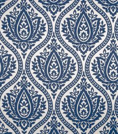 Home Decor Fabric Swatch-Print Fabric Eaton Square Farrell Marine, , hi-res Curtain Patterns, Fabric Patterns, Print Patterns, Arabesque, Eaton Square, Blue And White Fabric, White Fabrics, Fabricut Fabrics, Indigo Prints