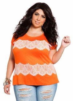 Ashley Stewart Women's Plus Size Lace Applique Top [List Price: $29.50 - Buy New: $17.70]