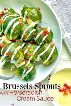 Ready in 20-minutes! Quick and easy side dish! Brussels Sprouts with a Horseradish Cream Sauce! Perfect side dish for steak, chicken and seafood or vegetarian! Horseradish Cream Sauce, Easy Recipes For Beginners, Cooking For Beginners, Steak Side Dishes, Side Dishes Easy, Brussels Sprouts, Southern Recipes, Sauce Recipes, Brussels Sprout