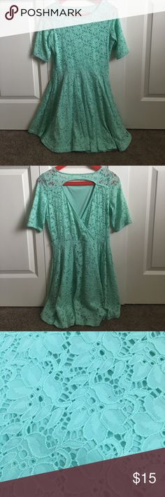 Mint green lace dress Mint green lace dress. Very stretchy and comfortable. Opening in the back. Has small loops at the waist for a belt. Size medium from PAC Sun brand Kirra. Worn twice. Kirra Dresses Mini