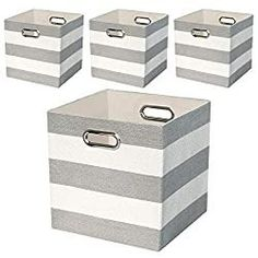 Storage Bins Storage Collapsible Storage Boxes Containers Organizer Baskets for Nursery,Office,Closet,Shelf - Striped