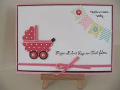 Kinderwagen, Fähnchen, Babykarte, Geburt, Mädchenkarte, Baby Card