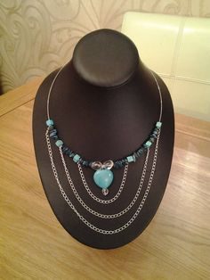 Silver Memory Wire Necklace With Turquoise Magnesite by CeliasGems, £15.00. OMG, I love this!