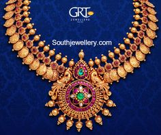 Kasu statement necklace at GRT jewellers. South Indian bridal fashion.