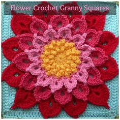 3-D Flower Crochet Granny Squares Have a couple gals who would love this in pinks