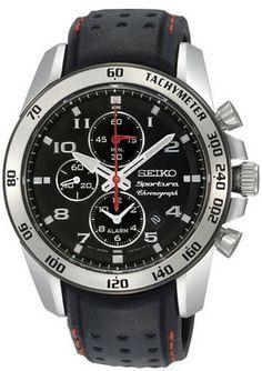 New Seiko Men's Sportura Alarm Chronograph Black Dial Leather Watch SNAE65 | eBay