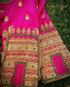 Temple jewellery Inspiered Blouse with heavy zardosi embellishment by Nazia Syed. Bridal Blouse Designs, Blouse Neck Designs, Sleeve Designs, Blouse Styles, Blouse Desings, Maggam Work Designs, Kids Lehenga, Beautiful Outfits, Work Blouse