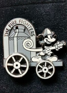 Disney Pin Firefighters Classic Fireman Mickey Mouse B&W Vintage Fire Truck Hose
