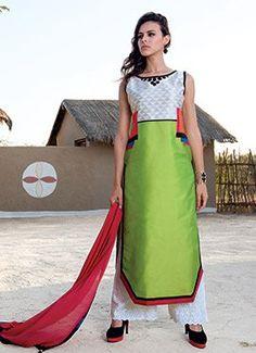 Off White N Green Pure Taffeta Silk Palazzo Suit