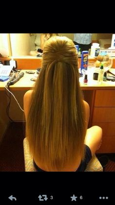 half up half down straight- love this hairstyle stays up all day and its easy!