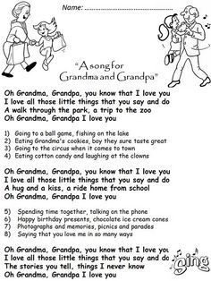 """Grandparents' Day-""""A song for Grandma and Grandpa"""""""