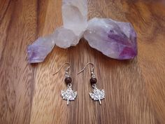 Oh Canada! Silver Maple Leaf Charm & Wood Bead Earrings.