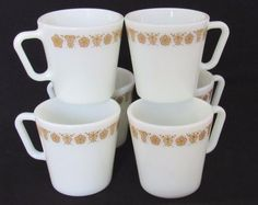 Pyrex Corelle By Corning Butterfly Gold Set Of 6 Coffee Mugs #Pyrex