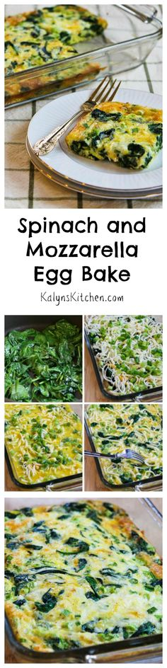 This Spinach and Mozzarella Egg Bake is a delicious way to start out your day with a healthy dose of greens! This recipe would be perfect for a Mothers Day brunch, or any time you want a breakfast thats a little bit special. #LowCarb #GlutenFree #Vegetarian