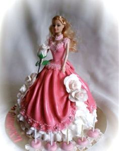 Risultati immagini per Barbie cake, cake with a doll Bolo Barbie, Barbie Cake, Barbie Dress, Dolly Varden Cake, Doll Birthday Cake, Gateaux Cake, Butterfly Cakes, Fairy Cakes, Dress Cake