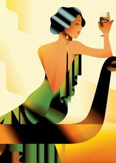 Tuborg Classic Art Deco Poster ~ by Mads Berg Art Deco Illustration, Art Vintage, Retro Art, Moda Art Deco, Retro Kunst, Art Deco Stil, Kunst Poster, Art Deco Posters, 1920s Art