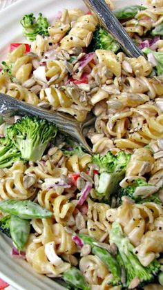 Vegetable Pasta Salad ~ This tasty vegetable pasta salad is perfect to take to summer parties and cookouts! You can add any combination of fresh vegetables on hand for extra variation.