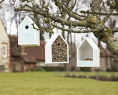Stylish wildlife havens designed by Sophie Conran including matching Bird Nesting Box, Bird Feeder House and Bug Box Insect Hotel.