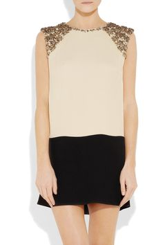 By Malene Birger|Embellished two-tone crepe dress|NET-A-PORTER.COM