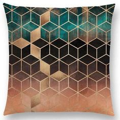 PinKart-USA Online Shopping / No Filling Hot Sale Abstract Nature Ornate Crystal Gradient Colorful Cubes Dazzling Diamond Geometric Living Room Pillows, Sofa Throw Pillows, Cushions On Sofa, Color Patterns, Geometric Patterns, Teal And Gold, Metallic Gold, Gold Bedroom, Abstract Nature