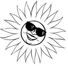 many free black and white clip art images Elsa Coloring Pages, Frozen Coloring, Coloring Sheets, Adult Coloring, Coloring Books, Free Black, Black And White, Star Silhouette, Sun With Sunglasses