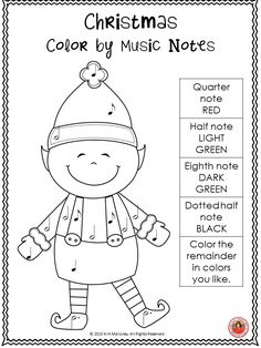 Christmas Color-by-Note Music Coloring Pages by SillyOMusic | TpT
