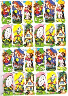 Nursery Rhyme Scraps Childhood Toys, Childhood Memories, Vintage Paper, Vintage Toys, Cow And Moon, Doodle Doo, Paper Scraps, Vintage Valentines, Paper Toys