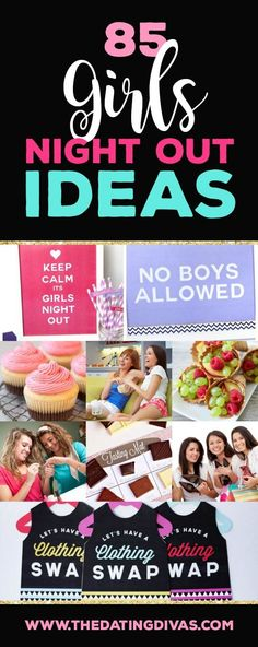 85 ideas for girls night out! AWESOME list of ideas for party themes, fun girls night out activity ideas and delicious snacks that everyone will love! Or if you are planning a girls night in, a lot of these ideas will work for that, too! Birthday Games For Adults, Birthday Party Games, Birthday Crafts, Birthday Ideas, Birthday Wishes, Happy Birthday, 22nd Birthday, Moms' Night Out, Girlfriend Birthday